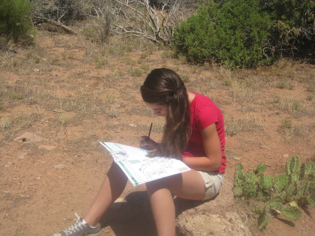 Colorado National Monument Sophie Working on the Junior Ranger Booklet